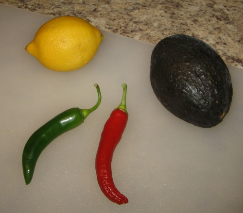 Just a fun shot of the salsa chilies and some guacamole ingredients