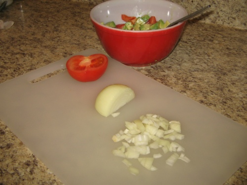 Then, some diced onion - a quarter or more